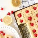 A pan of Lemon Raspberry Snack Cake