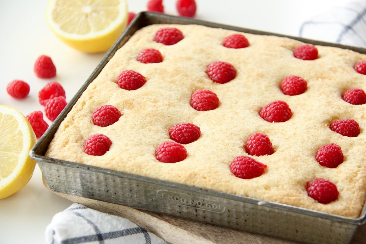 Lemon Raspberry Snack Cake