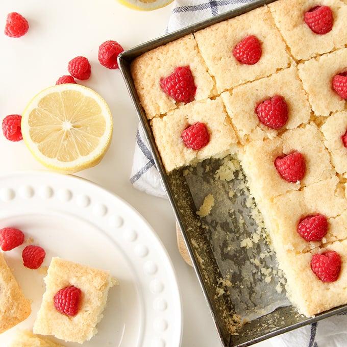 Slices of Lemon Raspberry Snack Cake