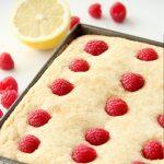 A pan of freshly baked Lemon Raspberry Snack Cake