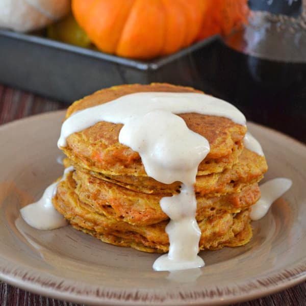 Carrot Cake Pancakes with Cream Cheese Drizzle