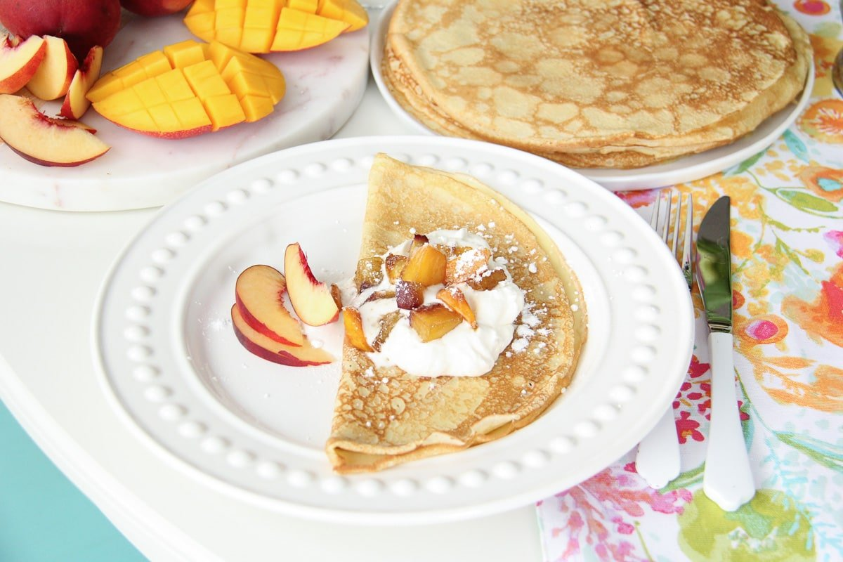 Mango Peach Crepes for Mother's Day