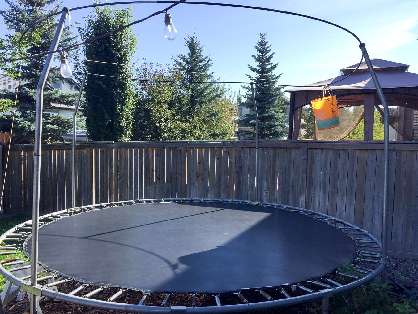 Our trampoline before we added a new Springfree Trampoline!