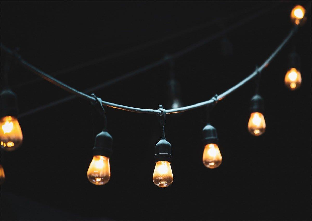 string lights at night