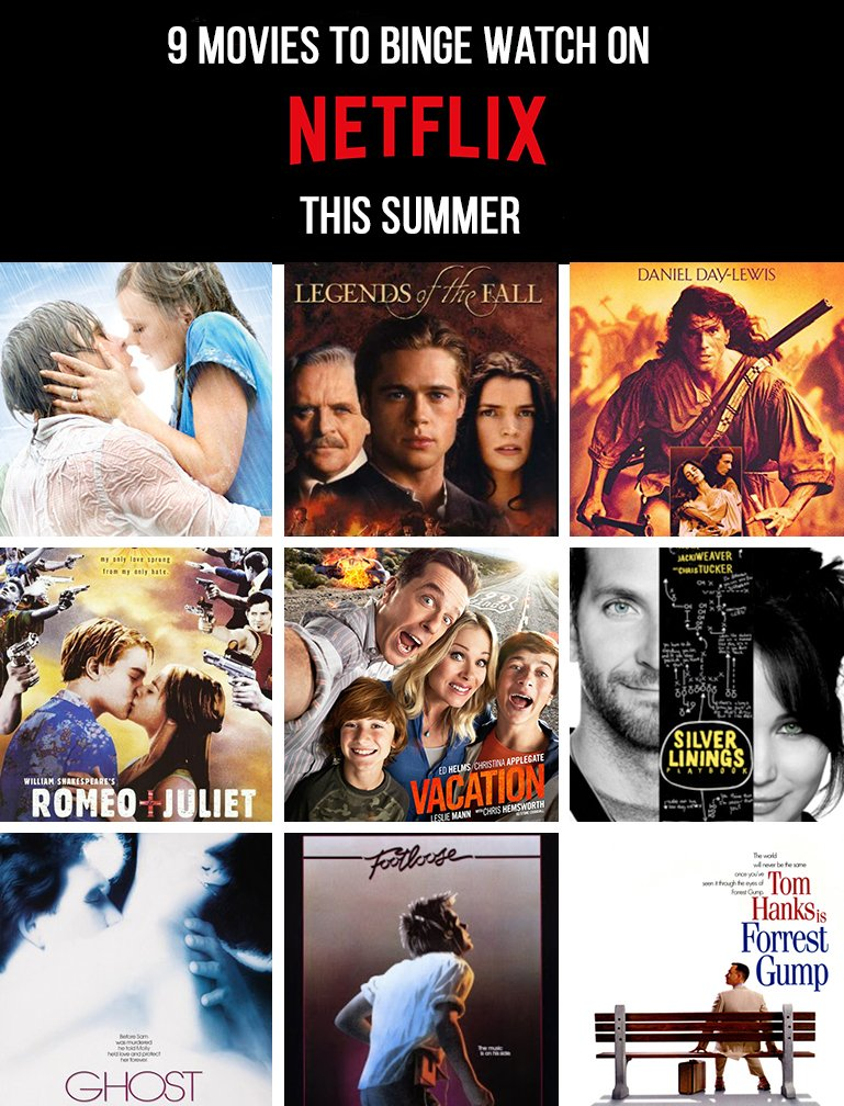 9 Movies to Binge Watch on Netflix this Summer!
