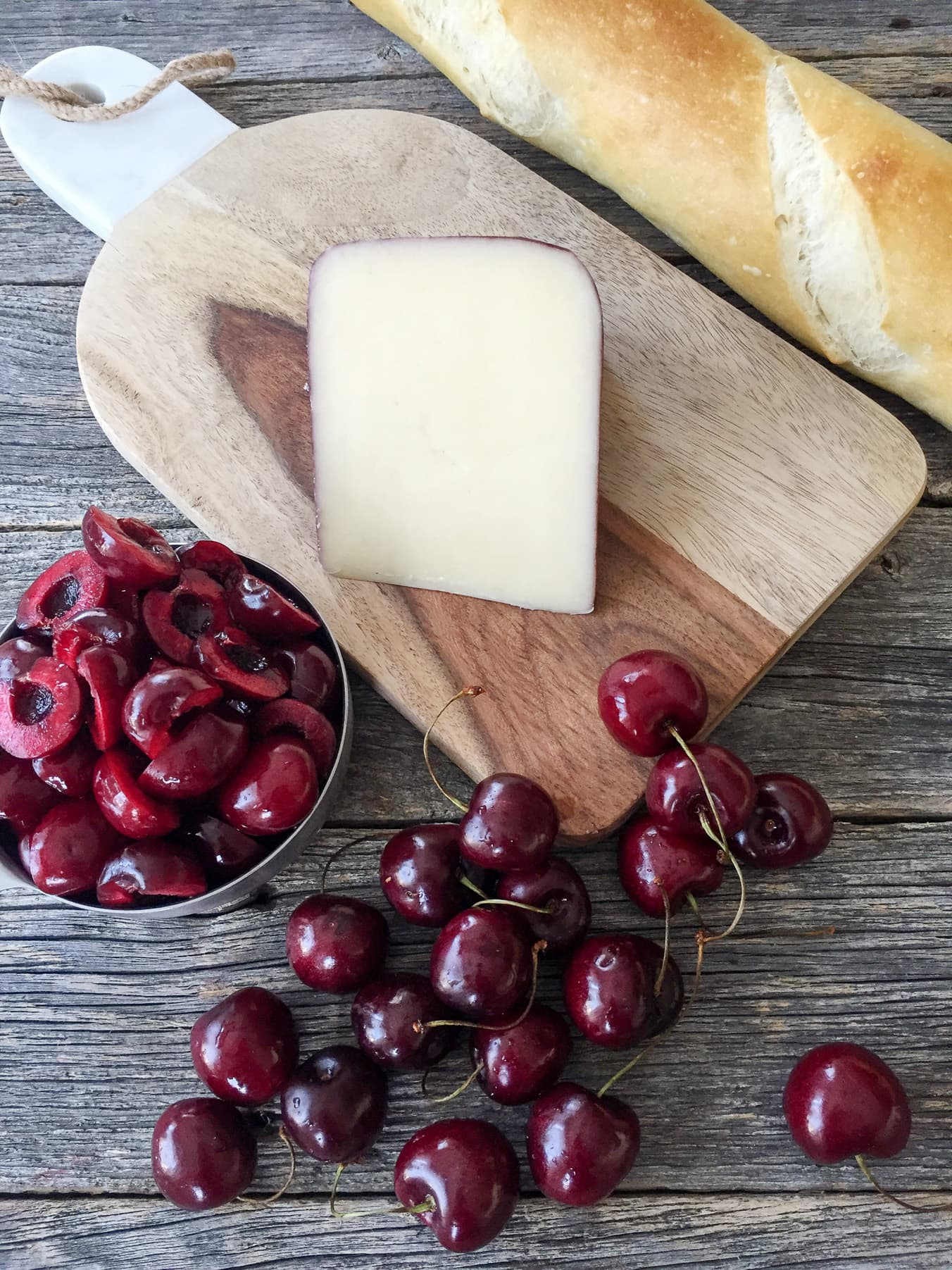 Tipsy Cheese and Cherry Crostinis