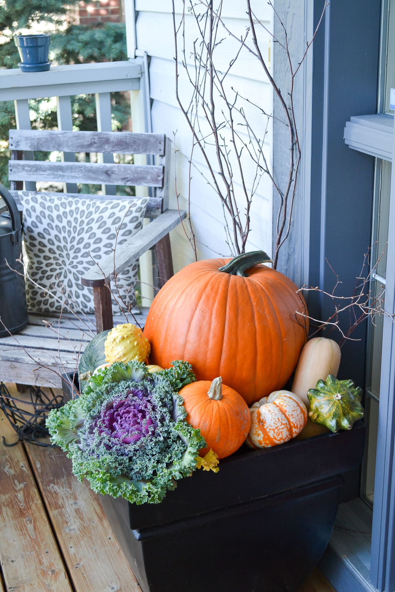 Fall Porch with Kale, Pumpkins and Gourds