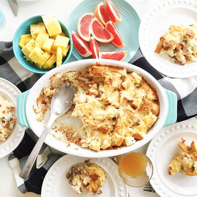 Overnight Sausage and Egg Breakfast Casserole