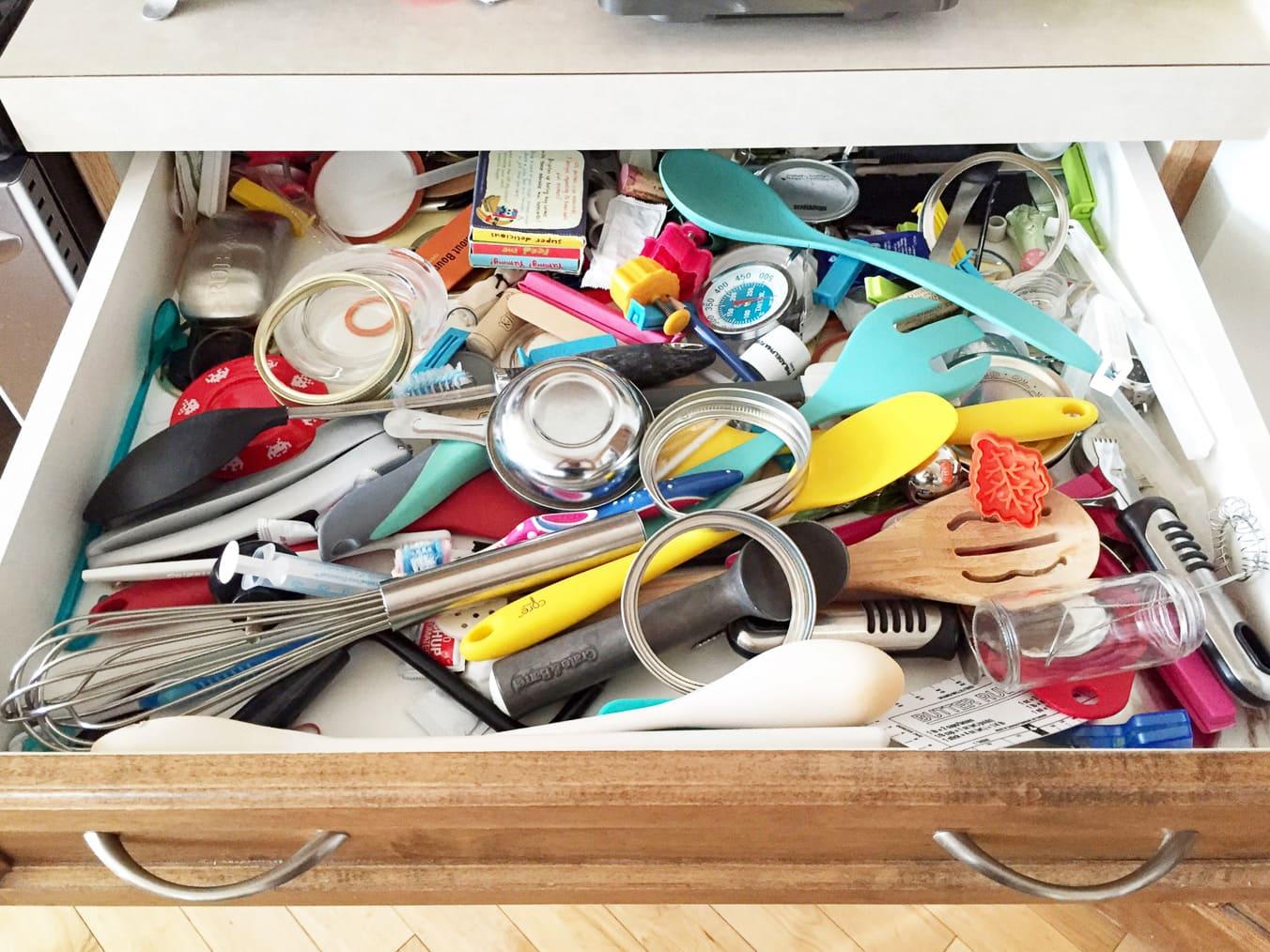 Kitchen Drawer Organization: Before