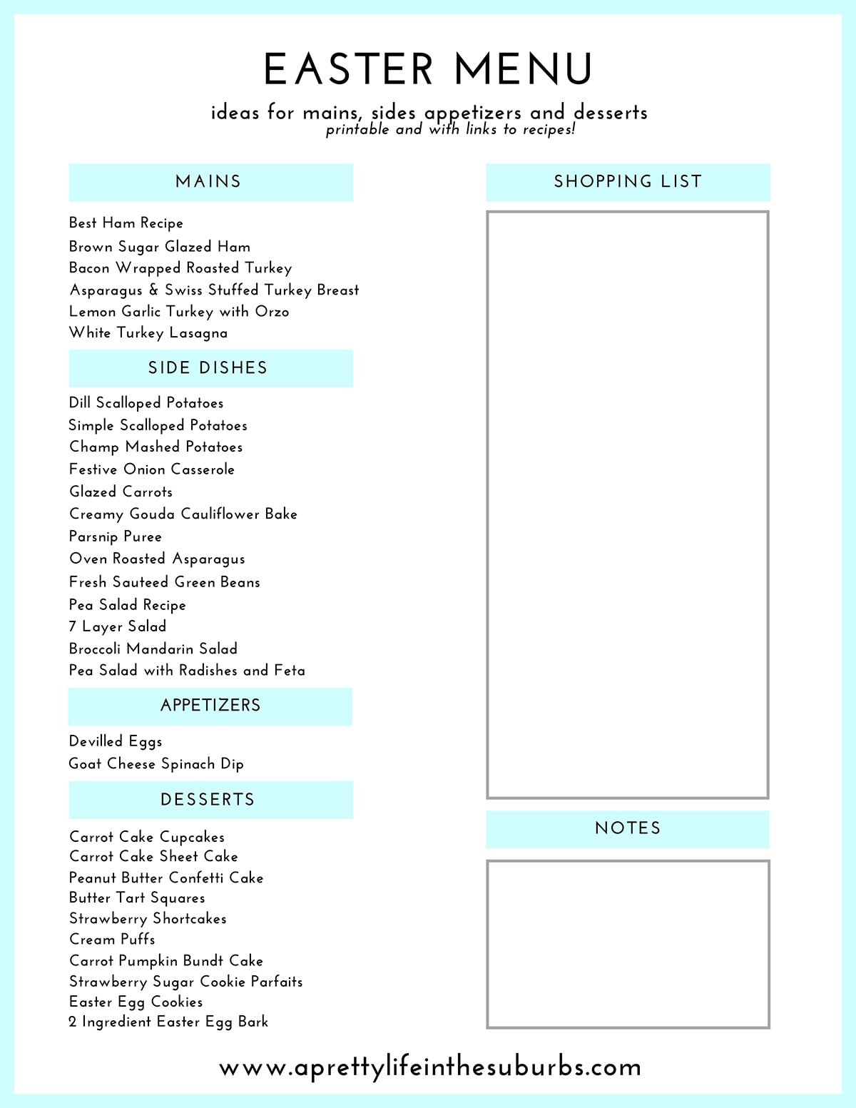 Easter Dinner Menu Ideas Printable