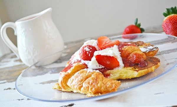 Strawberry Croissant French Toast with Fresh Strawberry Syrup