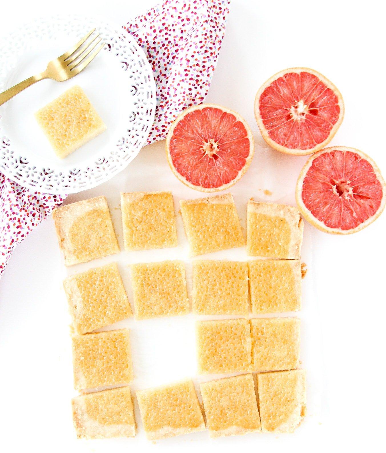 Grapefruit Curd Shortbread Squares