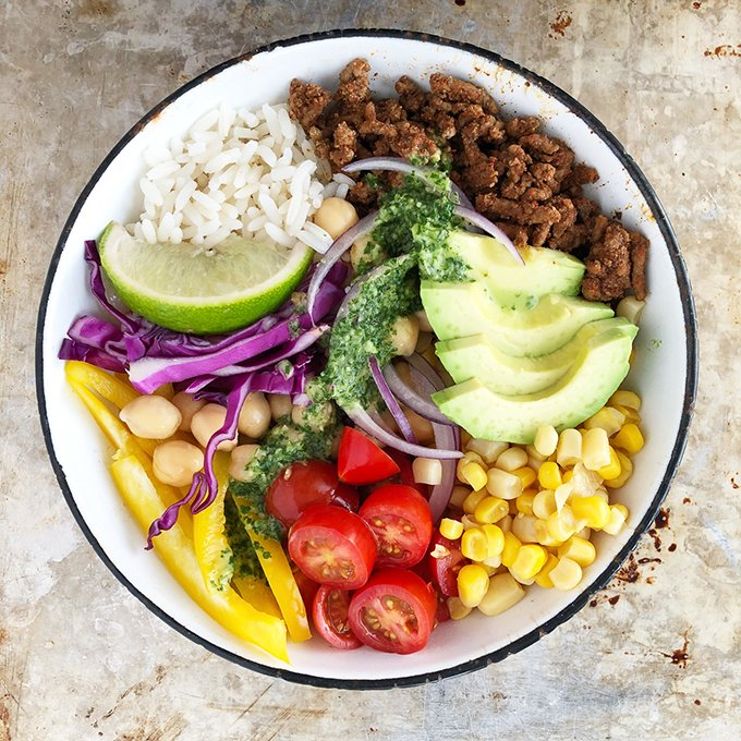 Mexican Bowl Recipe with Cilantro Lime Dressing