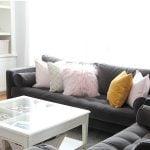 Living Room with Velvet Furniture