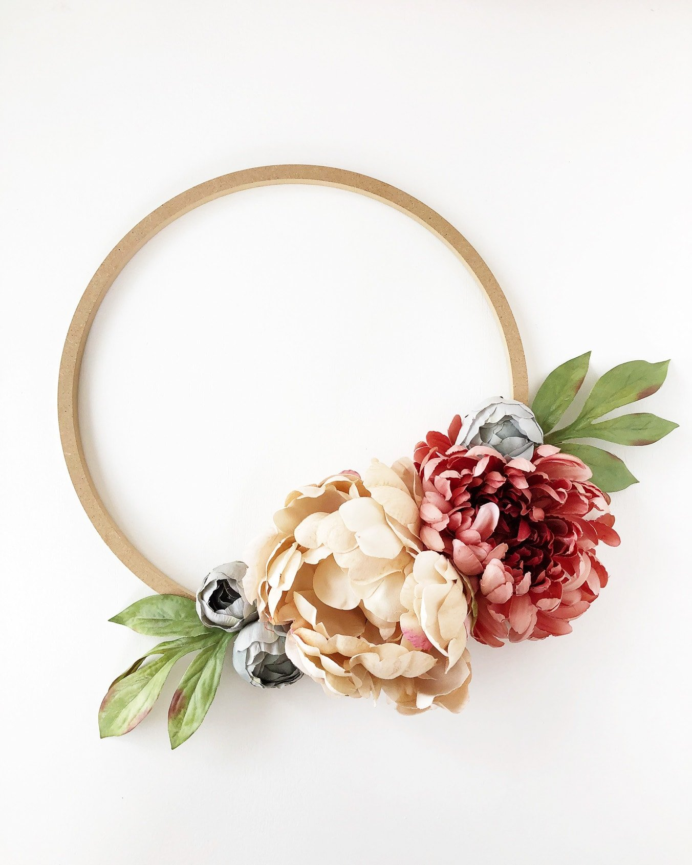 DIY Fall Floral Hoop Wreath