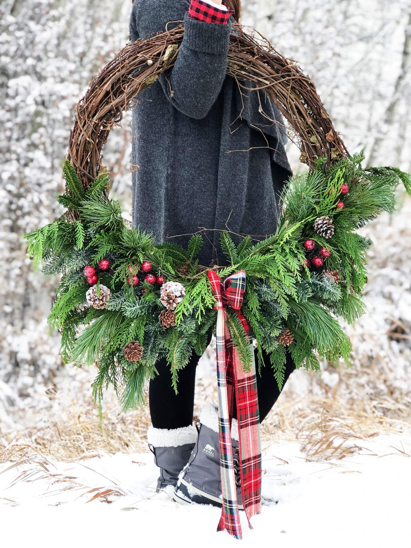 Christmas Grapevine Evergreen Wreath