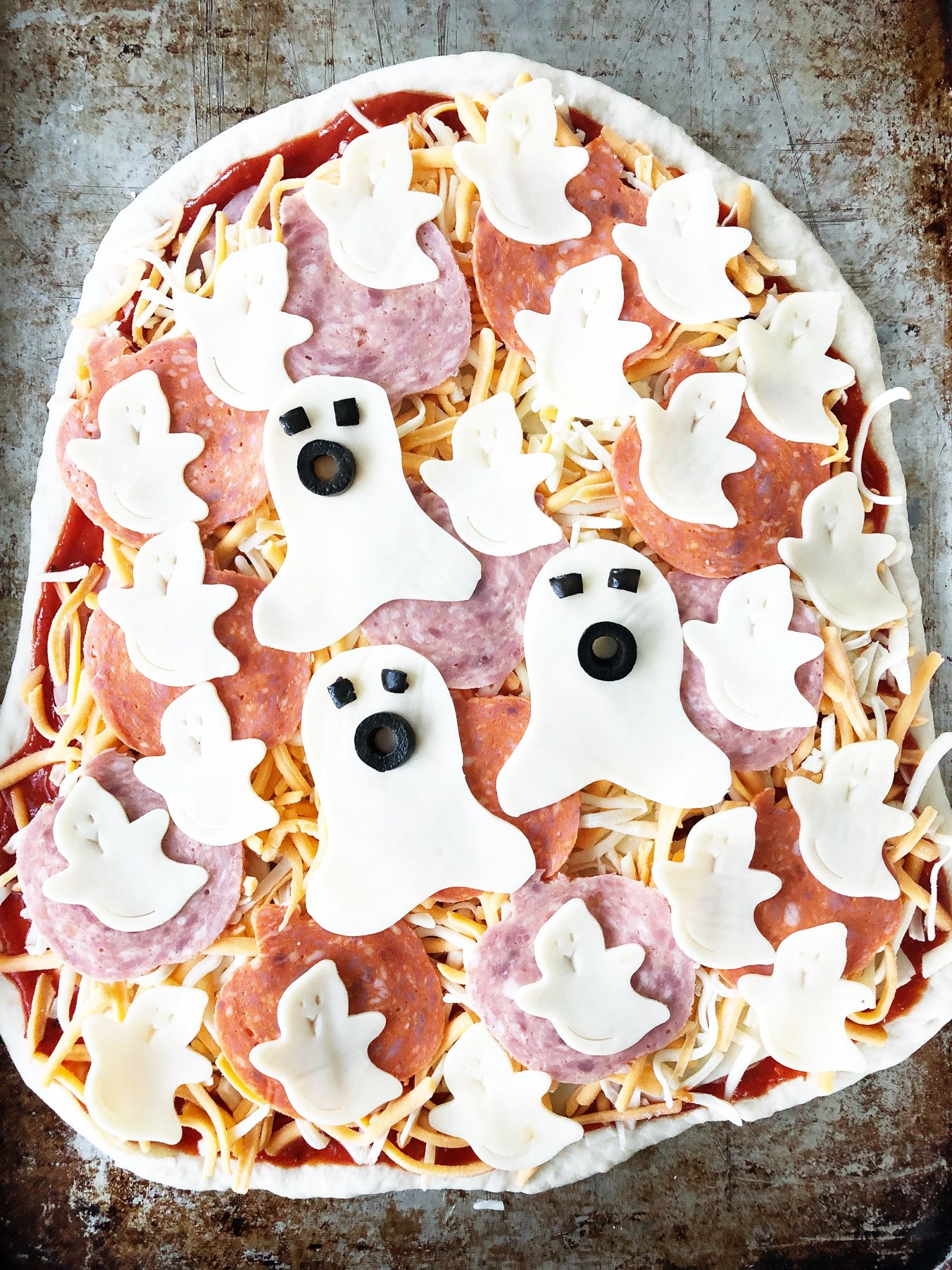 Halloween Ghost Blob Pizza