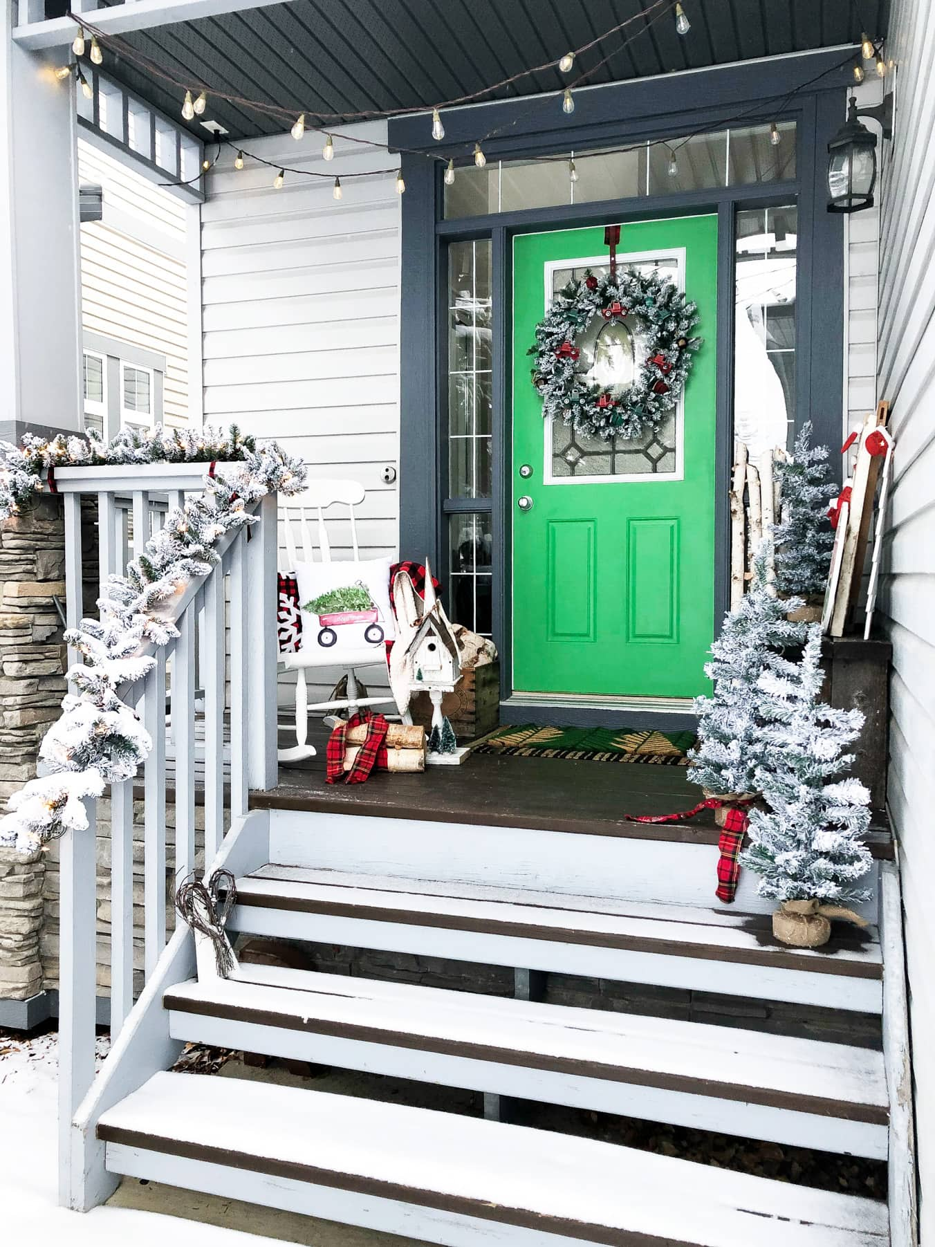A Tree Lot Inspired Christmas Front Porch