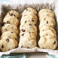 A tray of freshly baked Condensed Milk Chocolate Chip Cookies