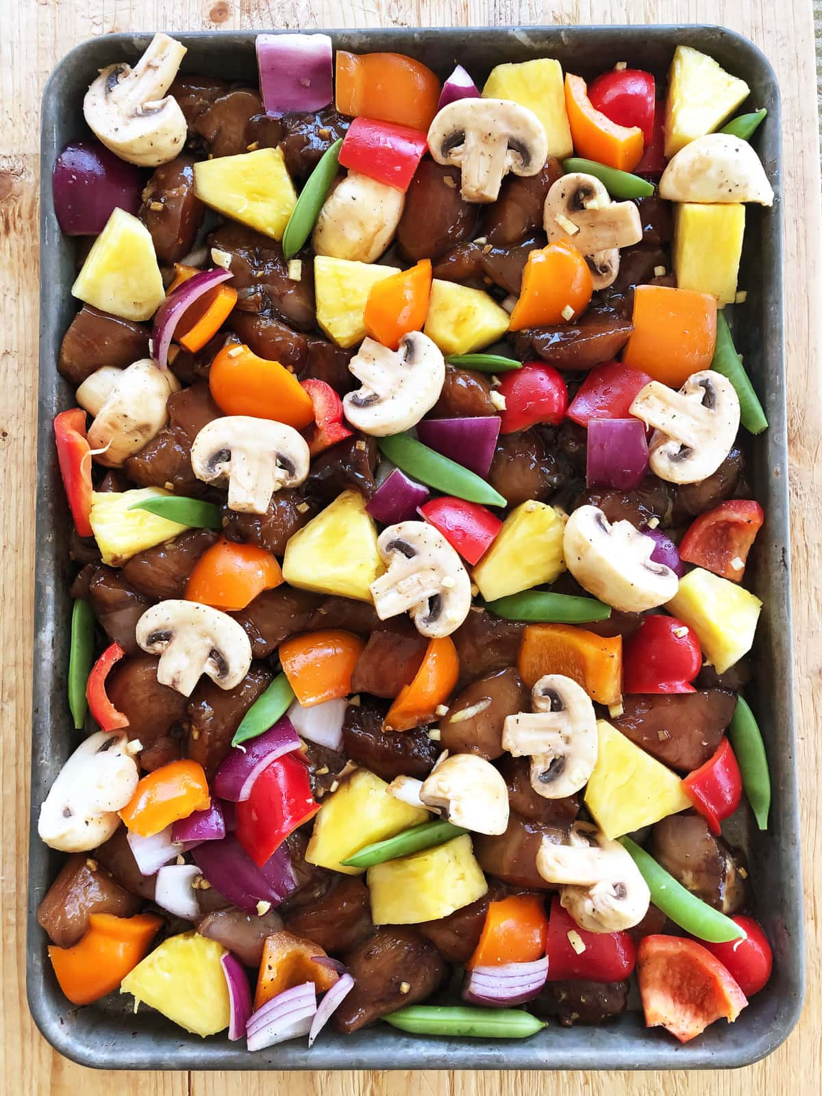 Hawaiian Chicken Sheet Pan Supper