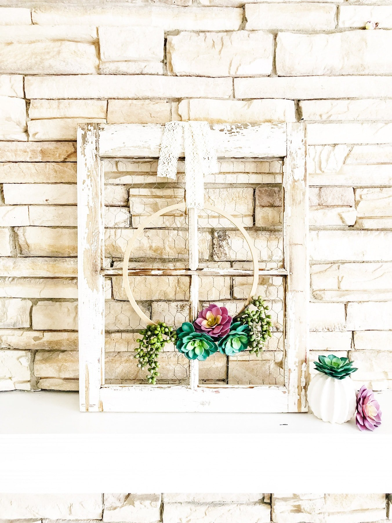 Simple Succulent Wreath for Spring