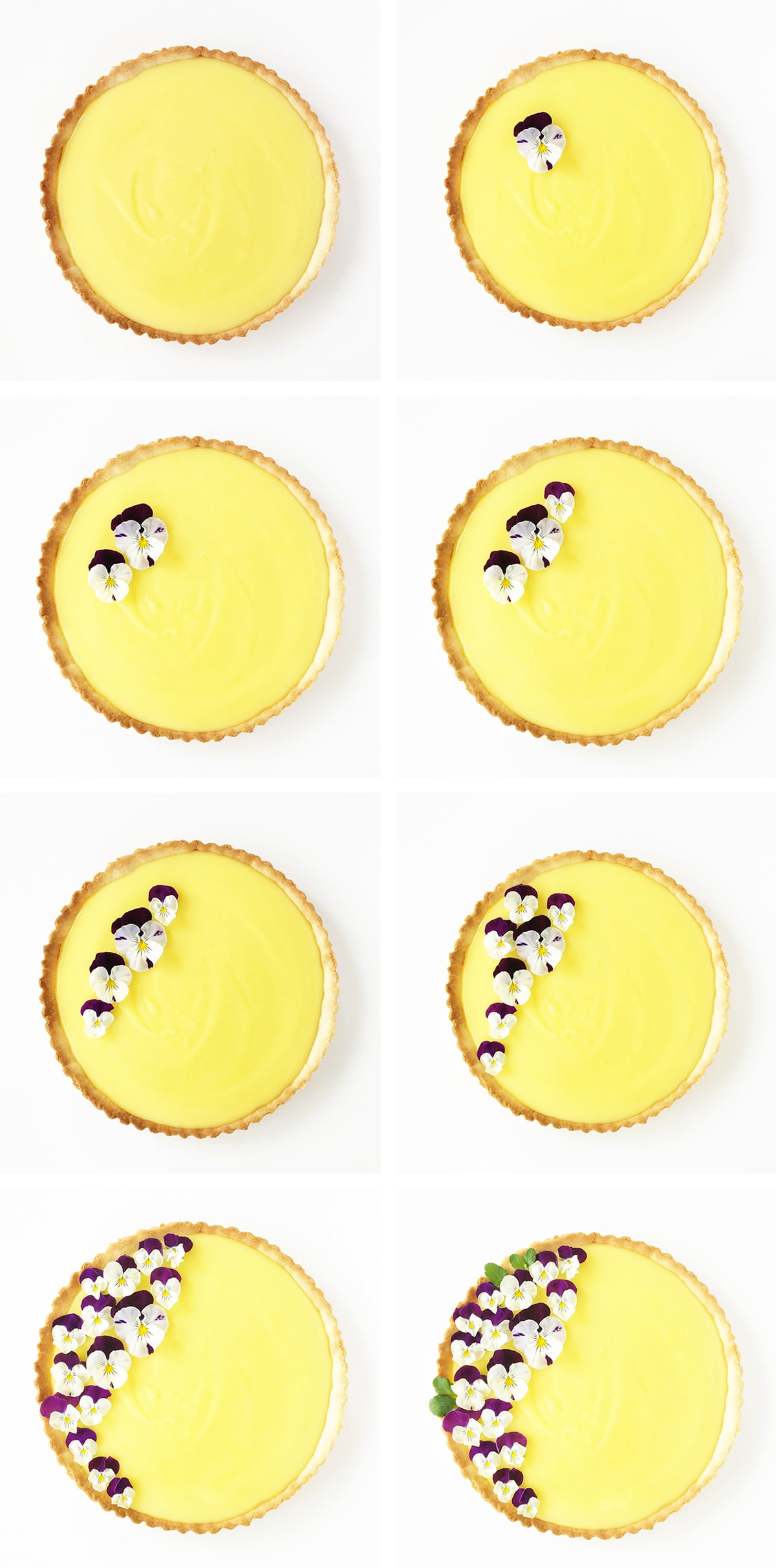 a Lemon Tart with a Shortbread Cookie Crust is garnished with Pansies