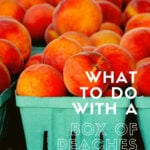 Containers of fresh peaches