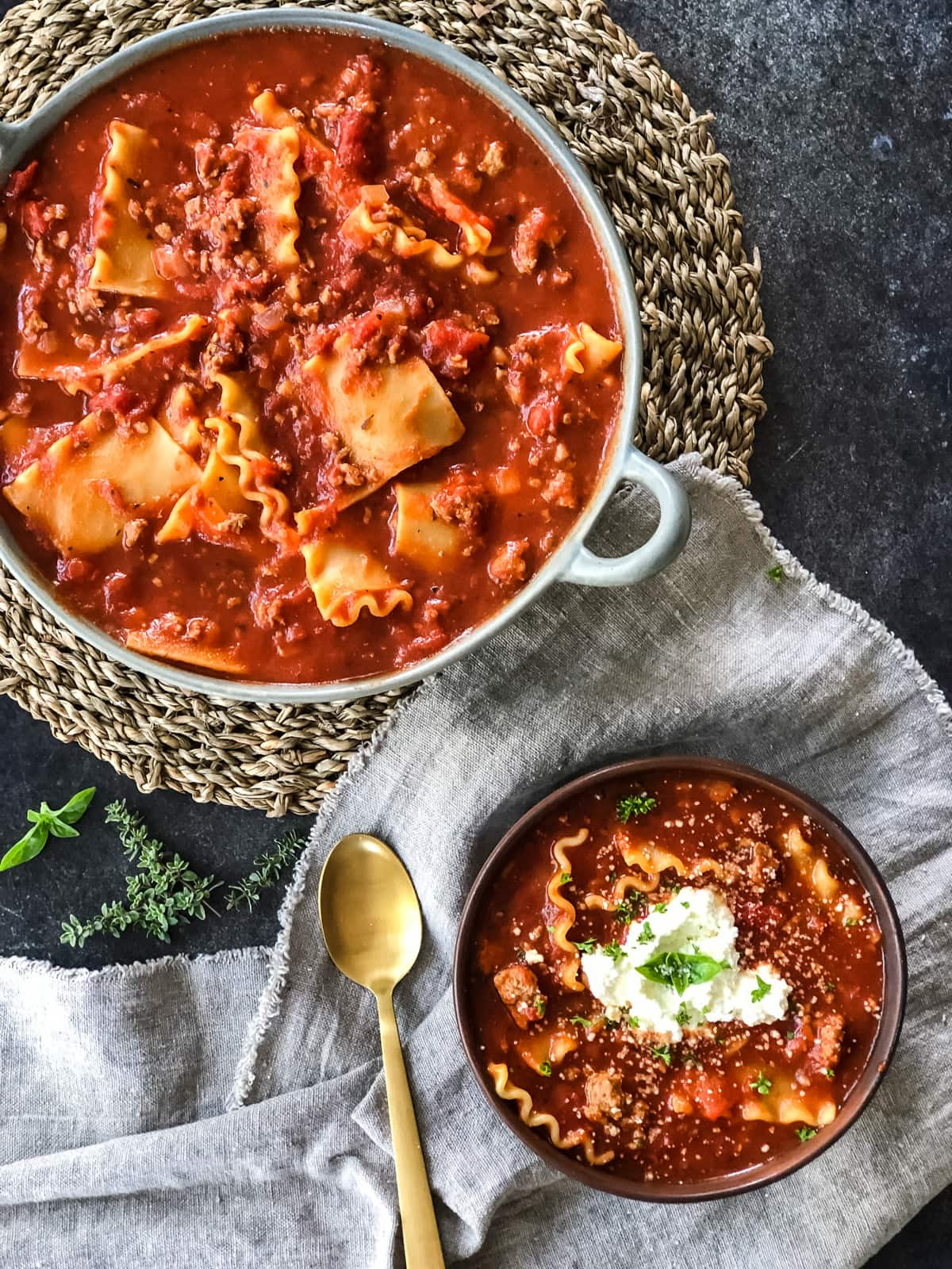 One Pot Turkey Lasagna Soup