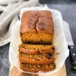 Sliced Pumpkin Spice Bread on a cutting board