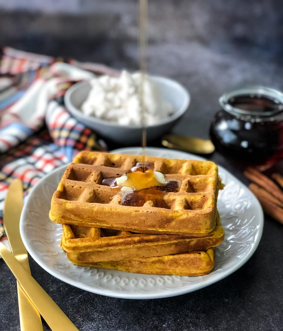 Pumpkin Pie Waffles with Cinnamon Whipped Cream