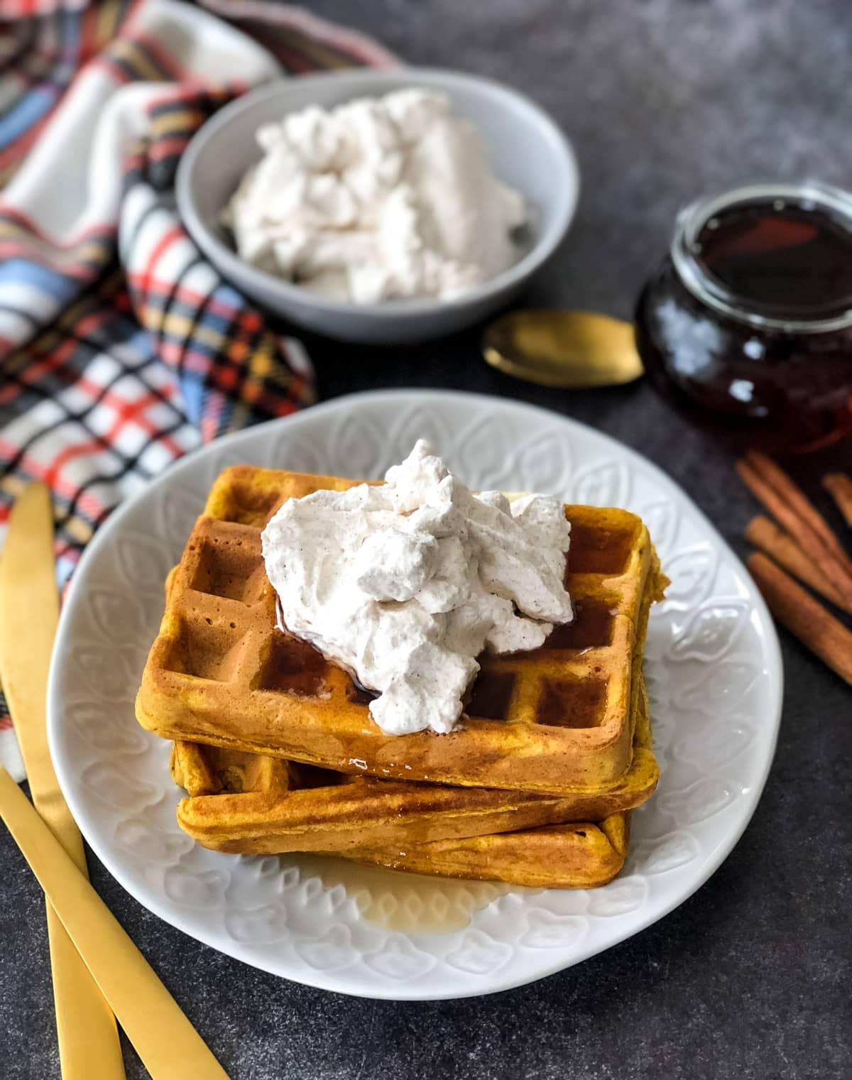 Pumpkin Pie Waffles with Cinnamon Whipped Cream