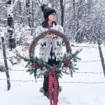 DIY Giant Evergreen Wreath with Plaid and Dried Oranges