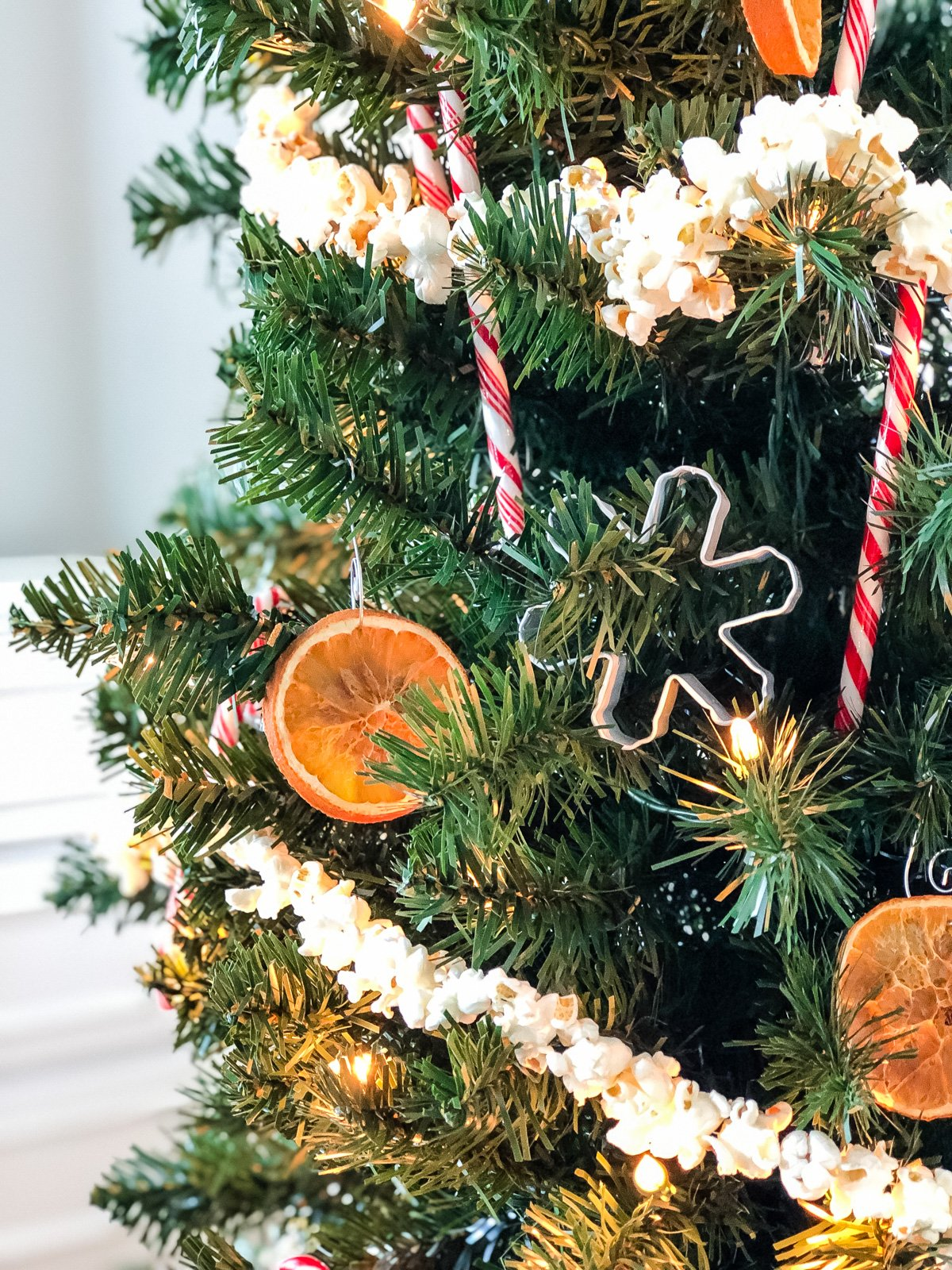 a close up of a Christmas tree decorated with candy canes, a snowflake cookie cutter, orange slices ornaments and popcorn garland