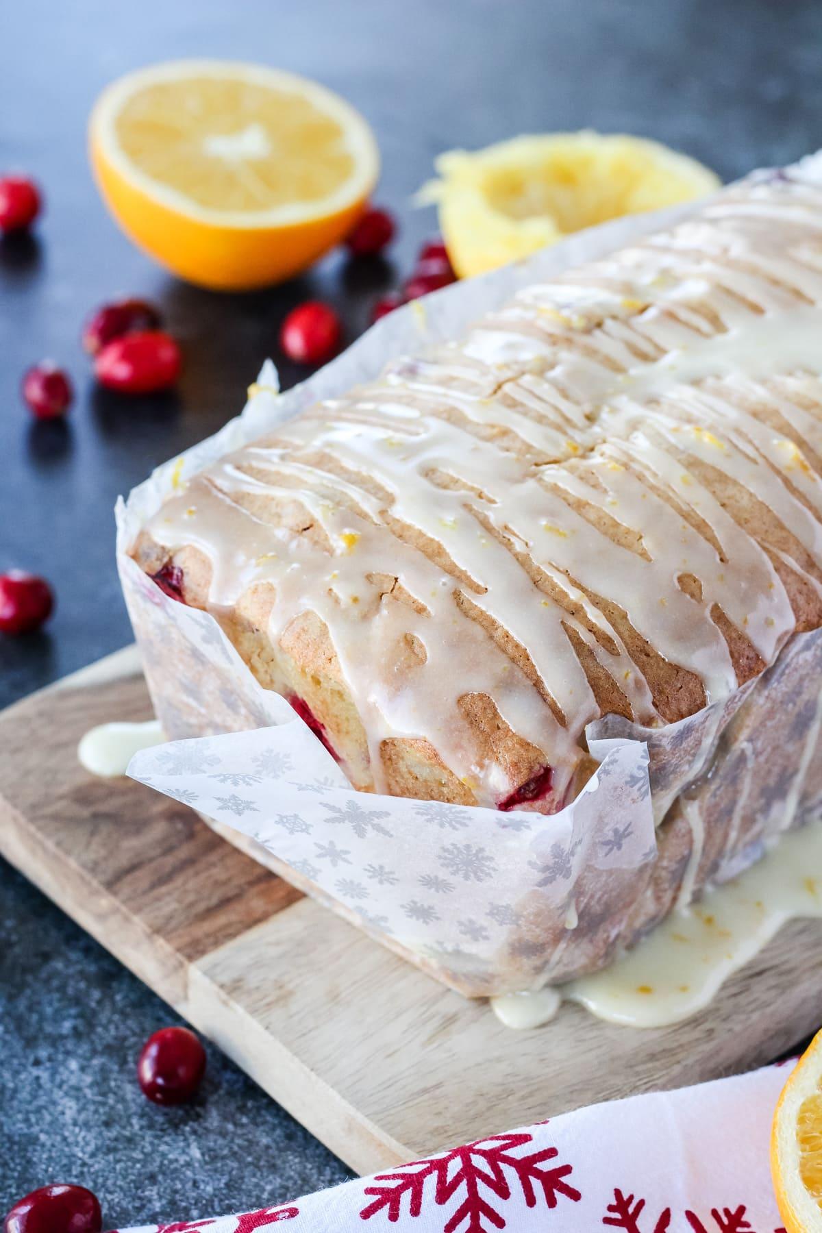 Cranberry Orange Loaf with Orange Glaze drizzle