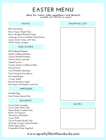 Printable and Clickable Easter Menu