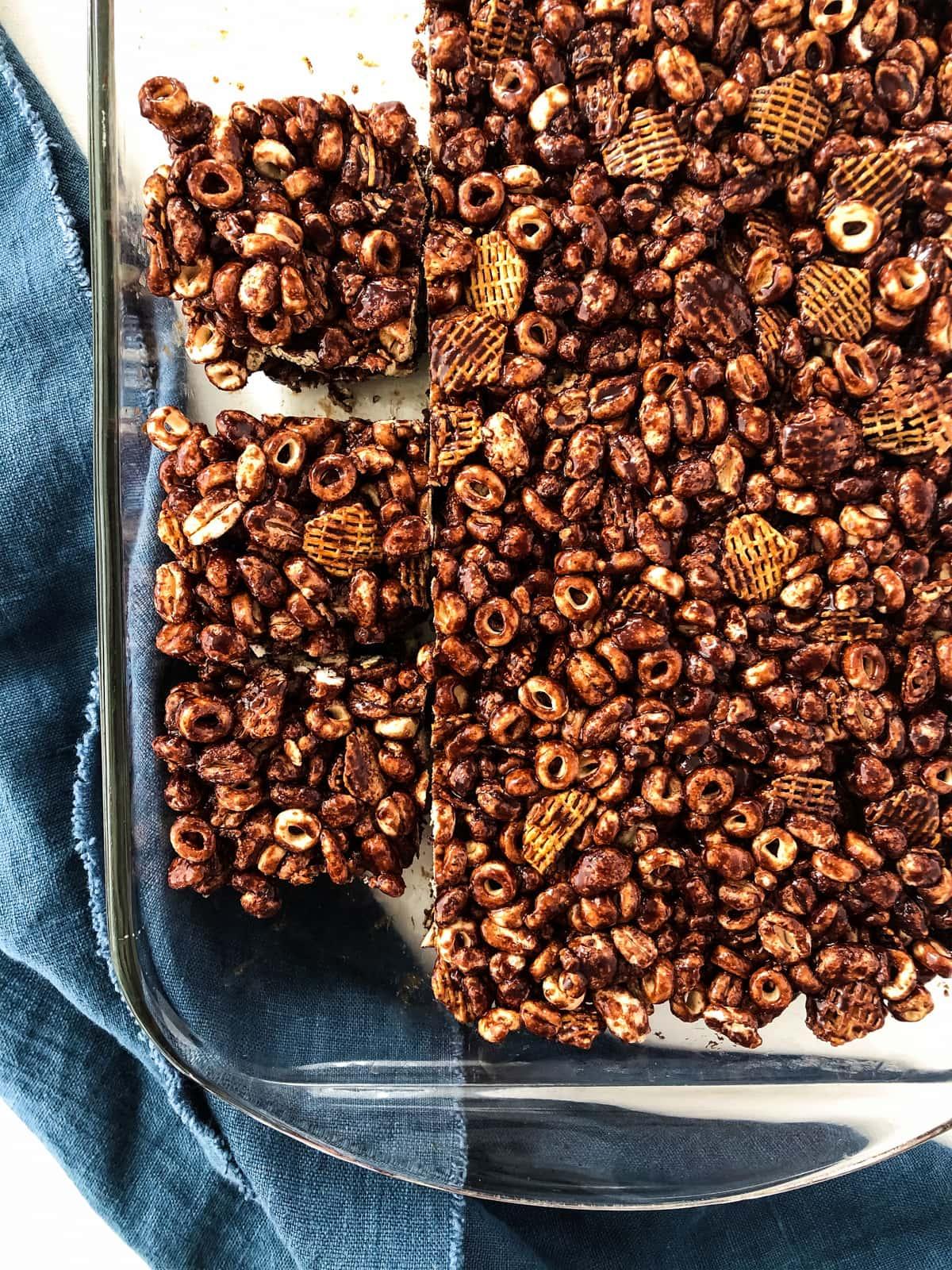No Bake Chocolate Cereal Squares