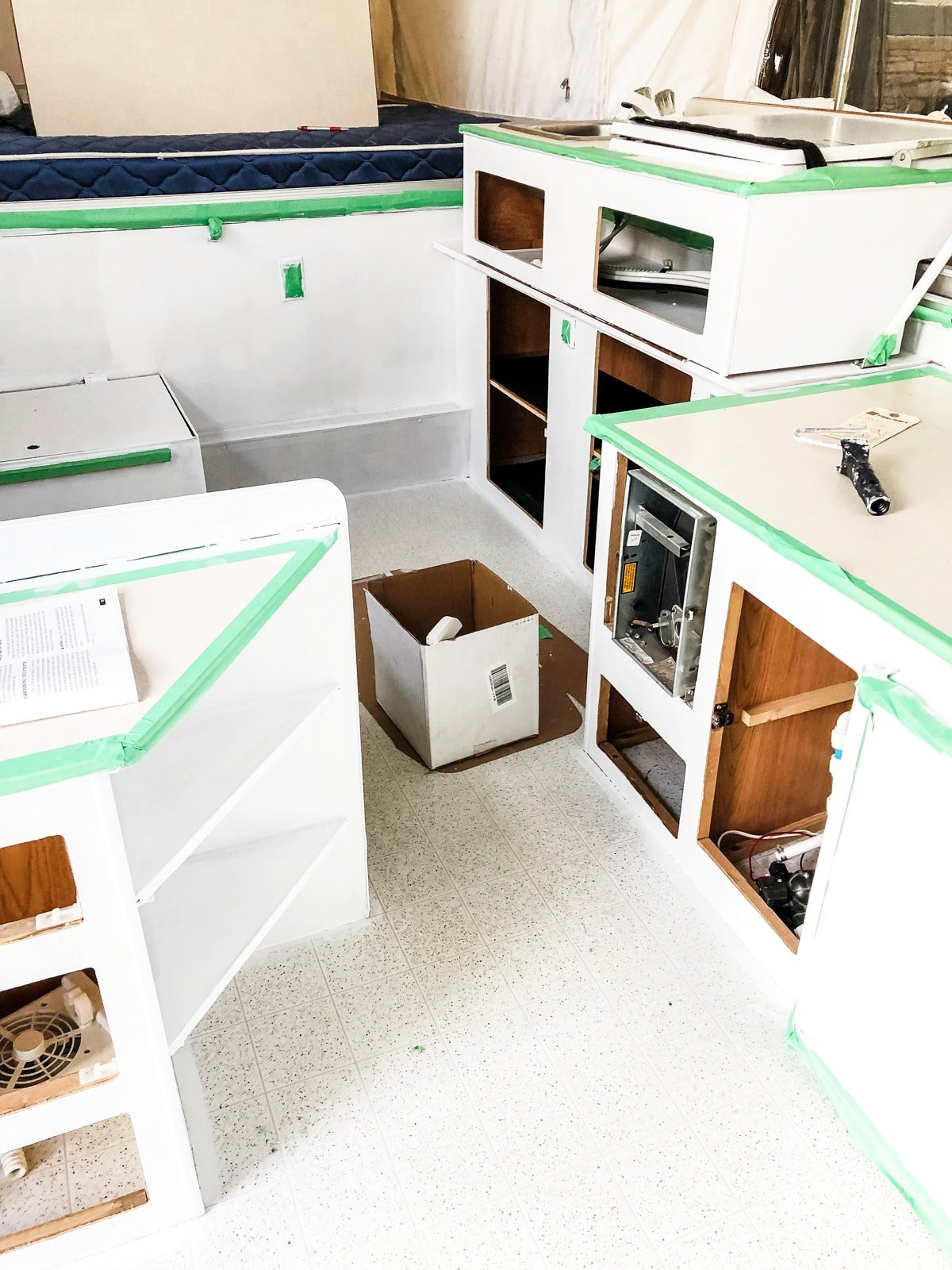 Our Pop-Up Camper Makeover: Painting Camper Cabinets