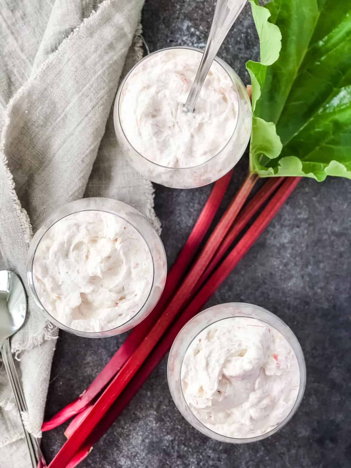 Cups of Rhubarb Cloud Dessert