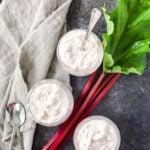 3 bowls of Rhubarb Cloud Dessert