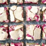 A tray of cut Rhubarb Dream Bars