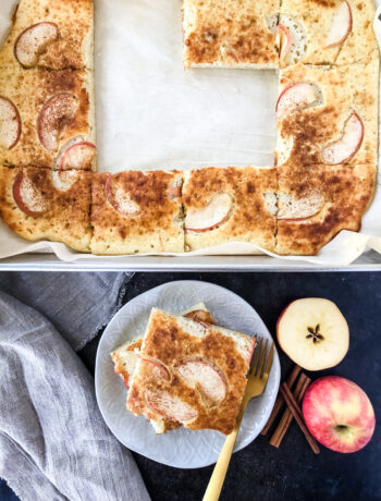 A pan of fresh baked Apple Pie Sheet Pan Pancakes, right out of the oven.