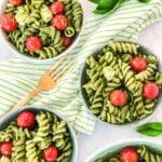 Individual bowls of Pesto Pasta Salad