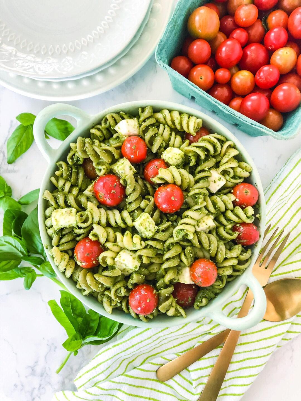 Pesto Pasta Salad on the table ready to serve