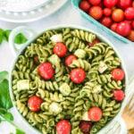 Pesto Pasta Salad Recipe on the dinner table