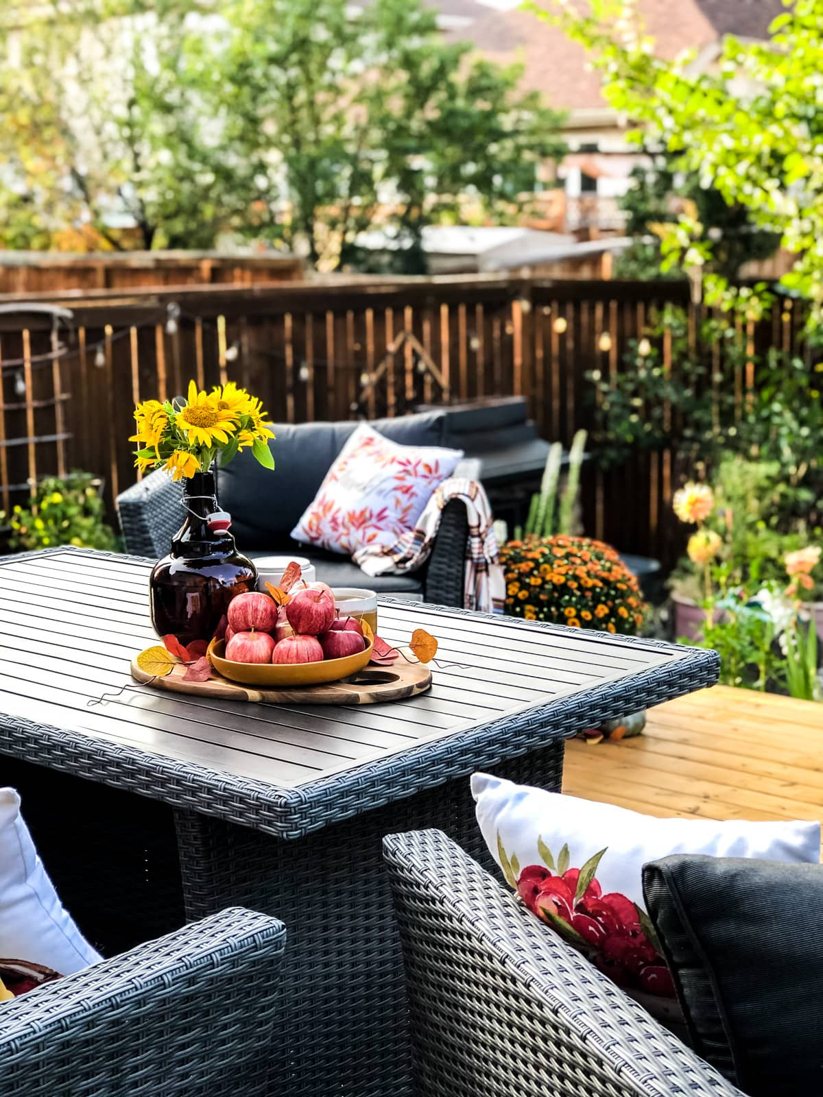 A fall table setting looking out into an urban backyard