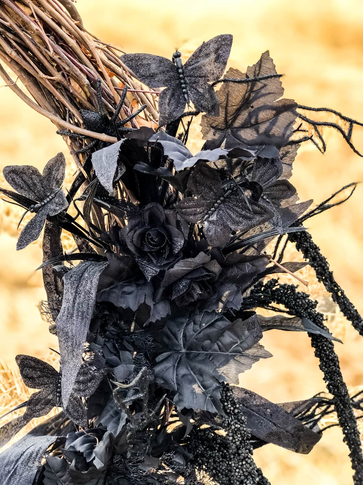 A close up of black floral stems