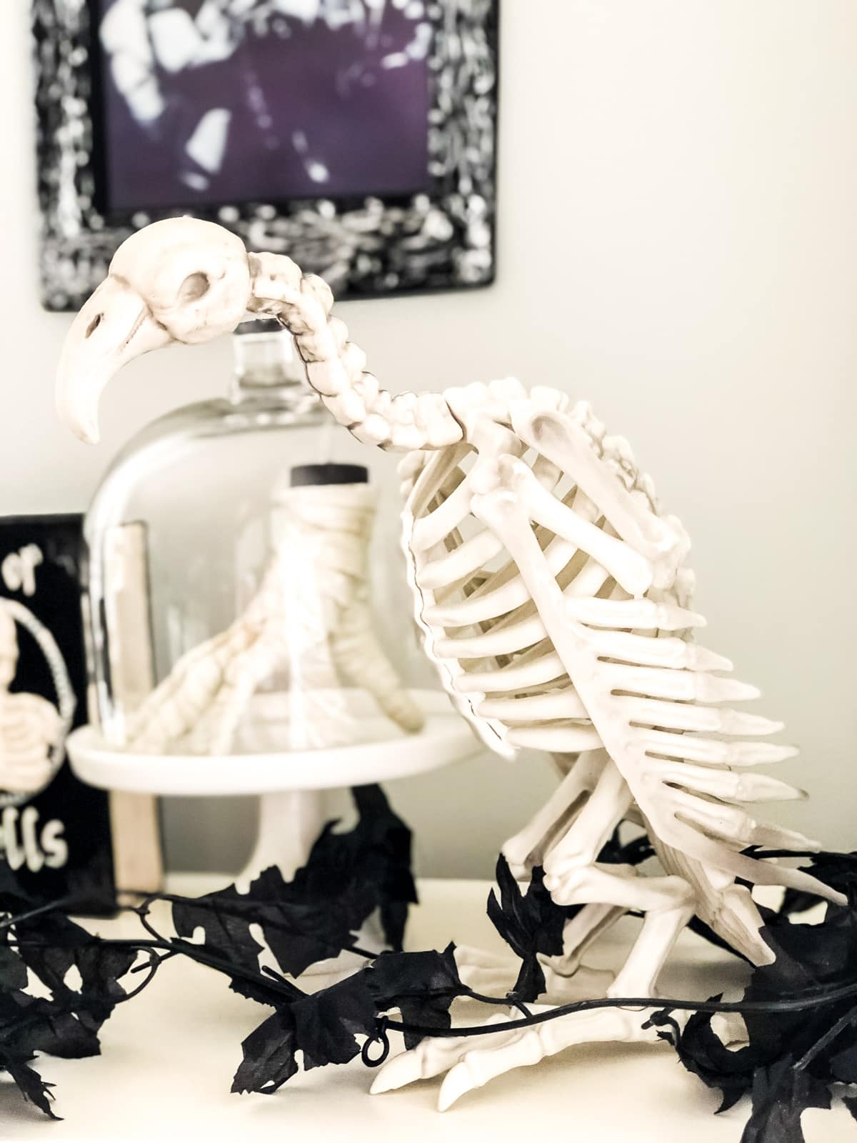 A Halloween decoration of a plastic buzzard skeleton