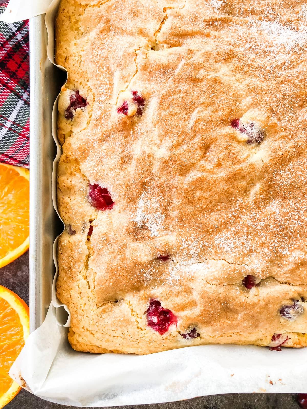 A close up of Cranberry Orange Breakfast Cake