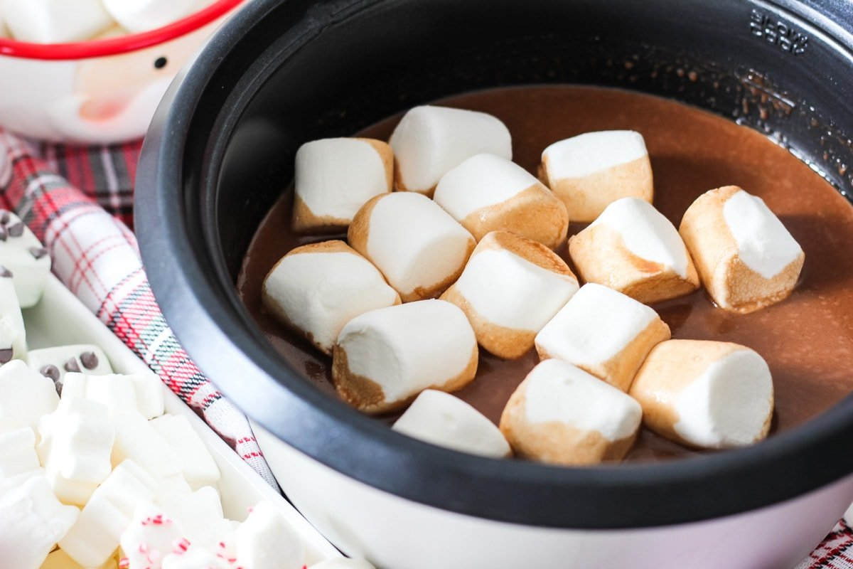 A Slow Cooker of Hot Chocolate and marshmallows