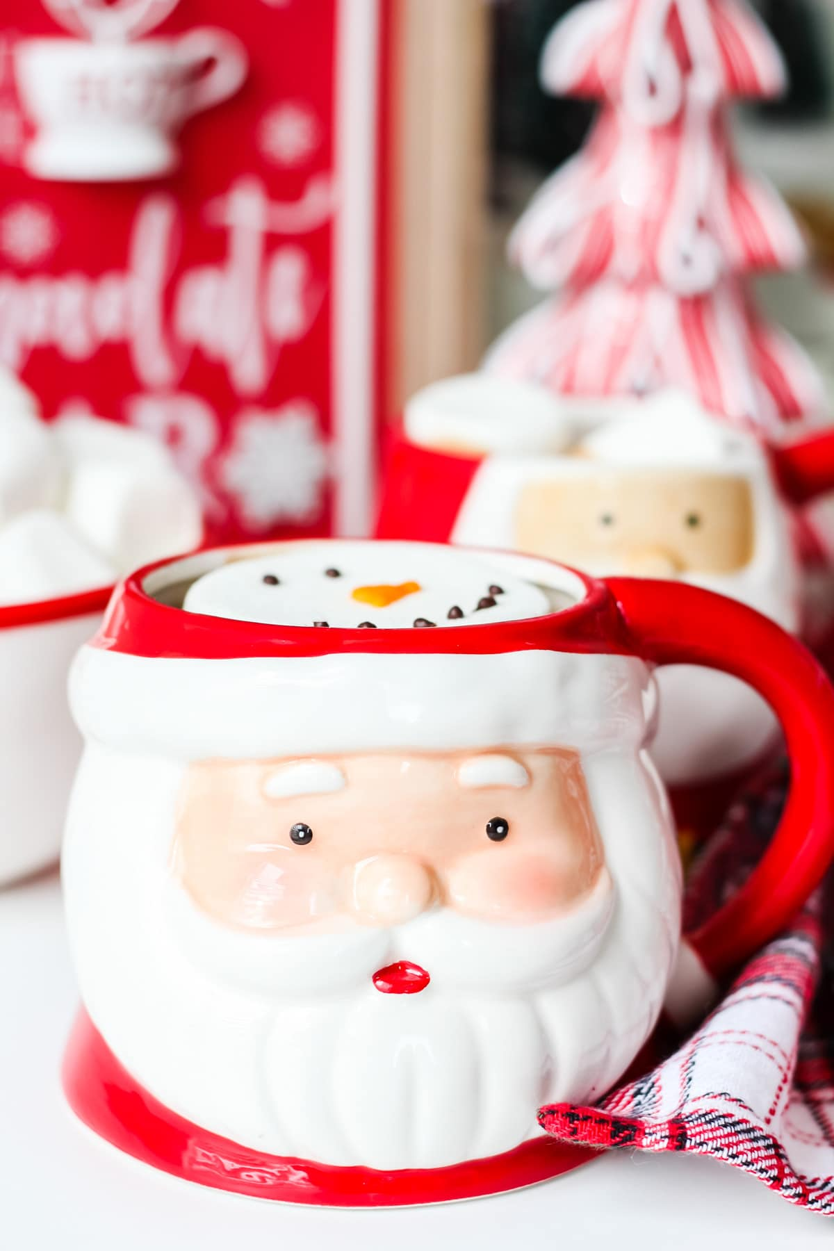 A Santa Mug filled with hot chocolate